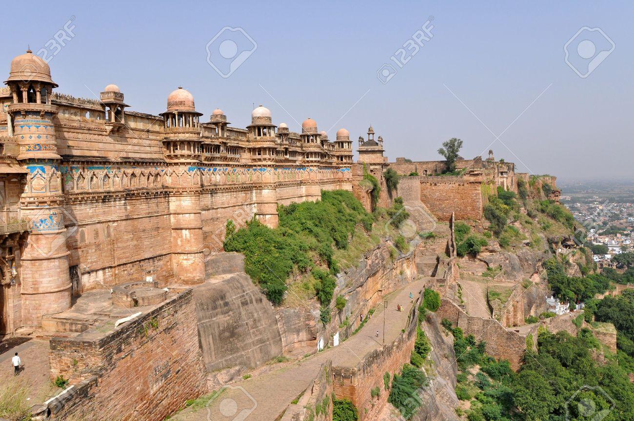Célèbre Gwalior Fort Dans Le Madhya Pradesh Inde Banque Dimages