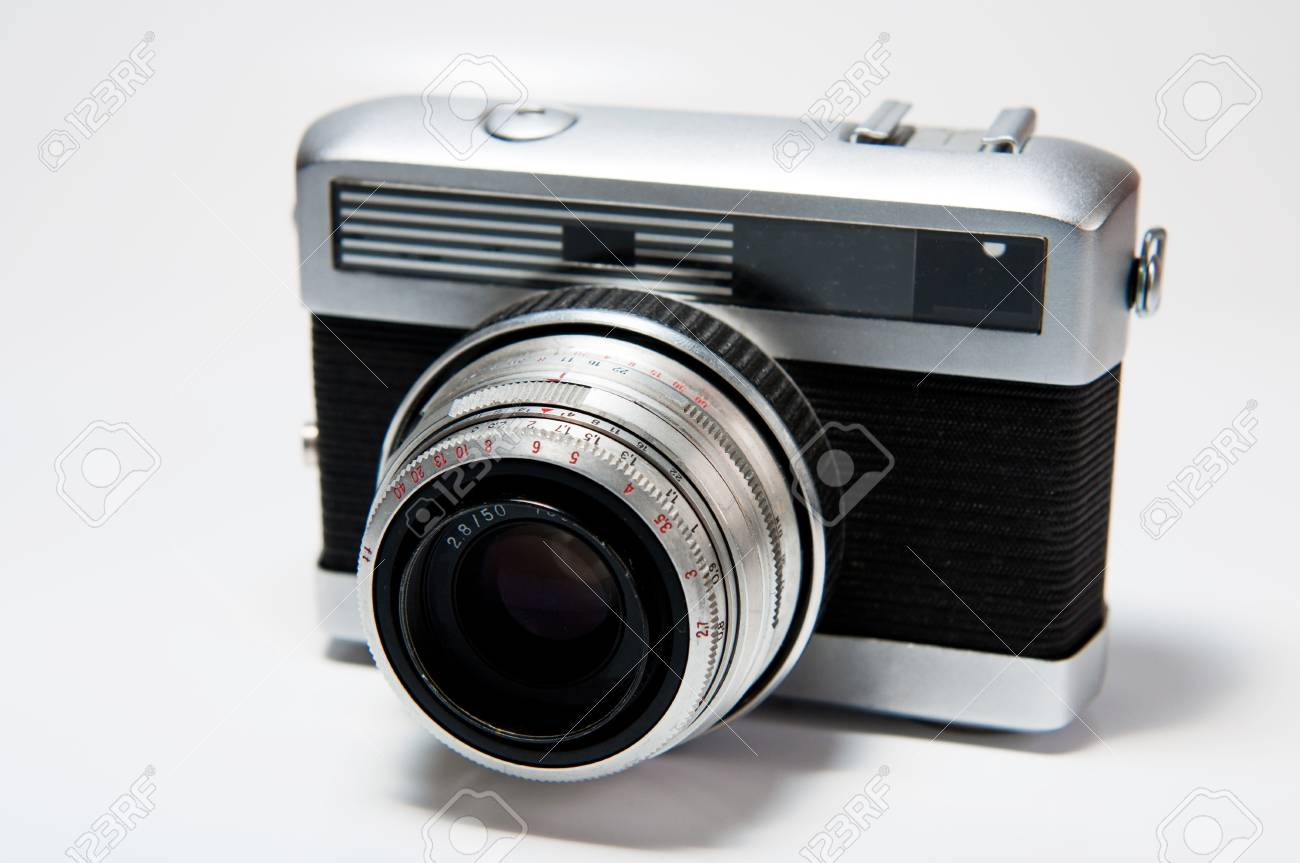 Picture of an old camera on a white background. Stock Photo - 8336454
