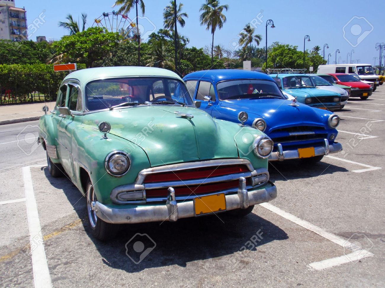 Detail Of Colorful Group Of Vintage American Cars. Stock Photo ...