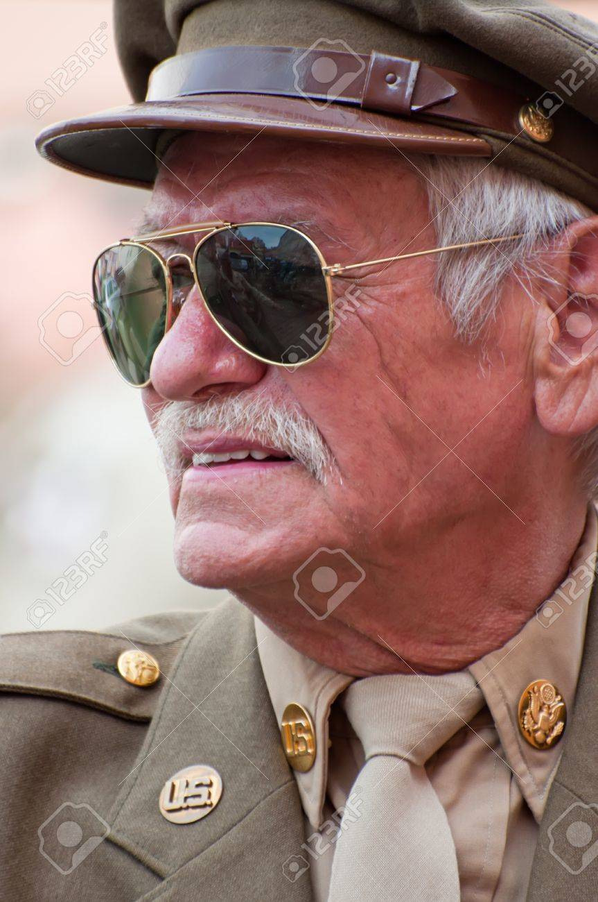 PRAGUE, CZECH REPUBLIC - 29 APRIL: Picture of an American veteran dressed in American uniform of World War Two on April 29, 2011. It is a part of reenactment event - the fall of German army in the Czech Republic during WWII. Stock Photo - 11175517