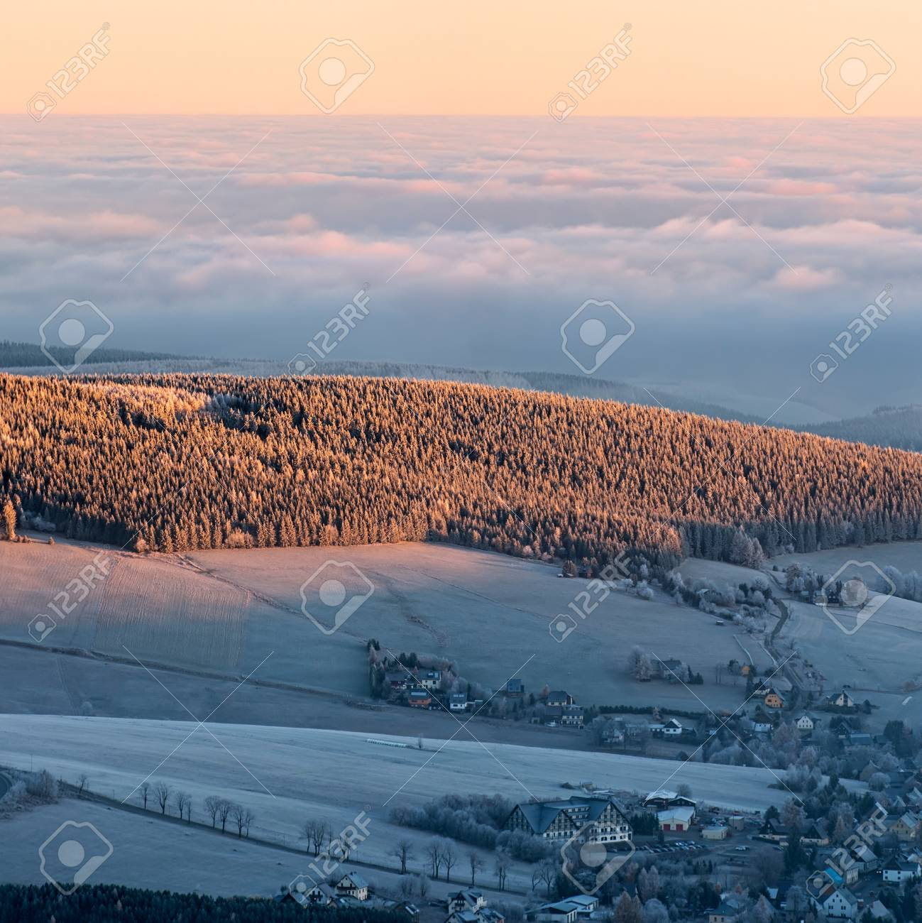 View of a beautiful misty morning on the top of the hill, panoramic picture, square format. Stock Photo - 16833638