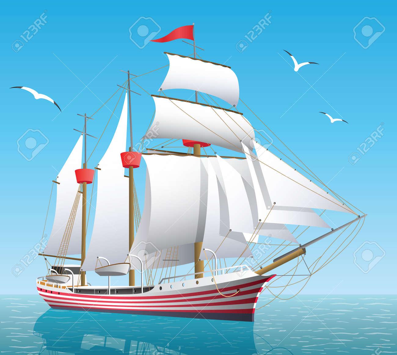 Ship on the open sea - 157069864