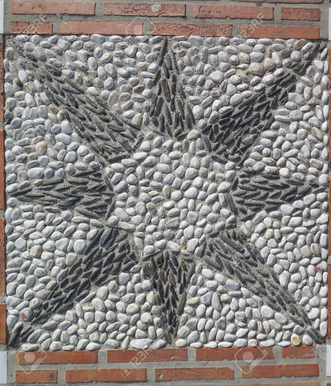 pebble mosaic in plaza de despedida alora andalucia stock photo