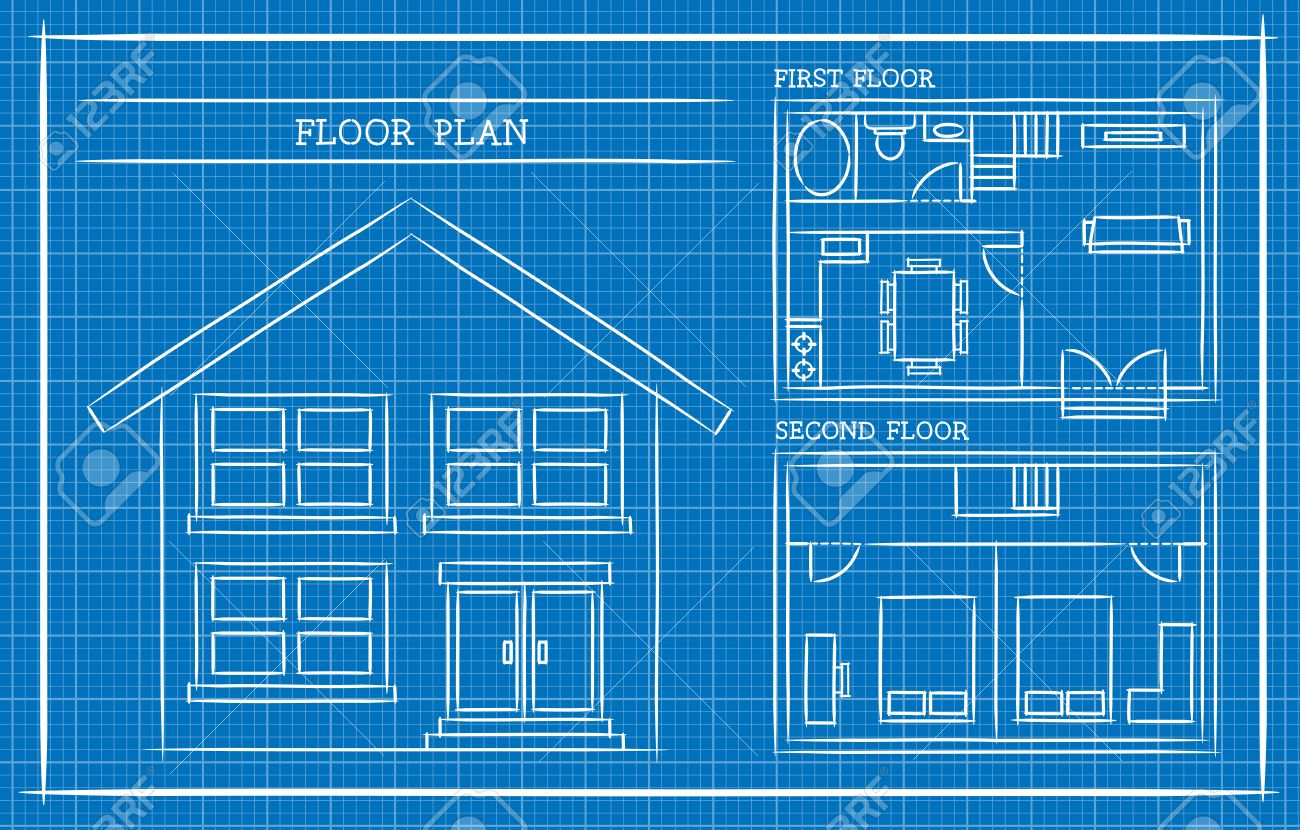 Great Blueprint, House Plan, Architecture Stock Vector   46325833 Amazing Design