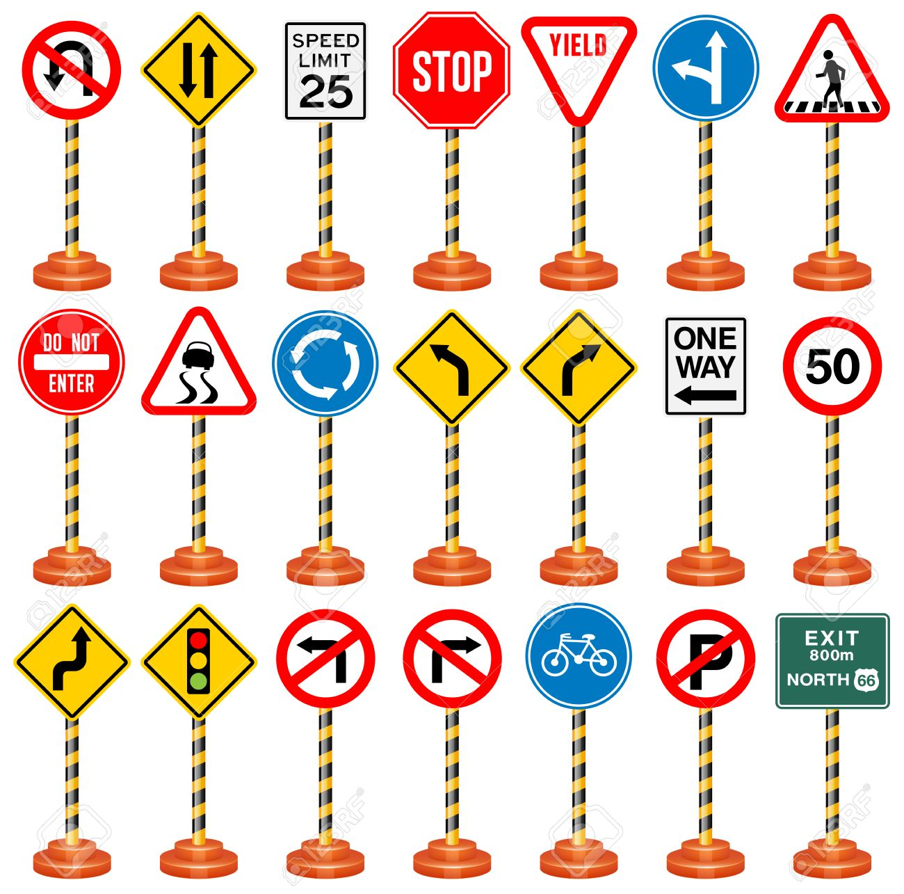 Road signs traffic signs transportation safety travel stock vector 48073246