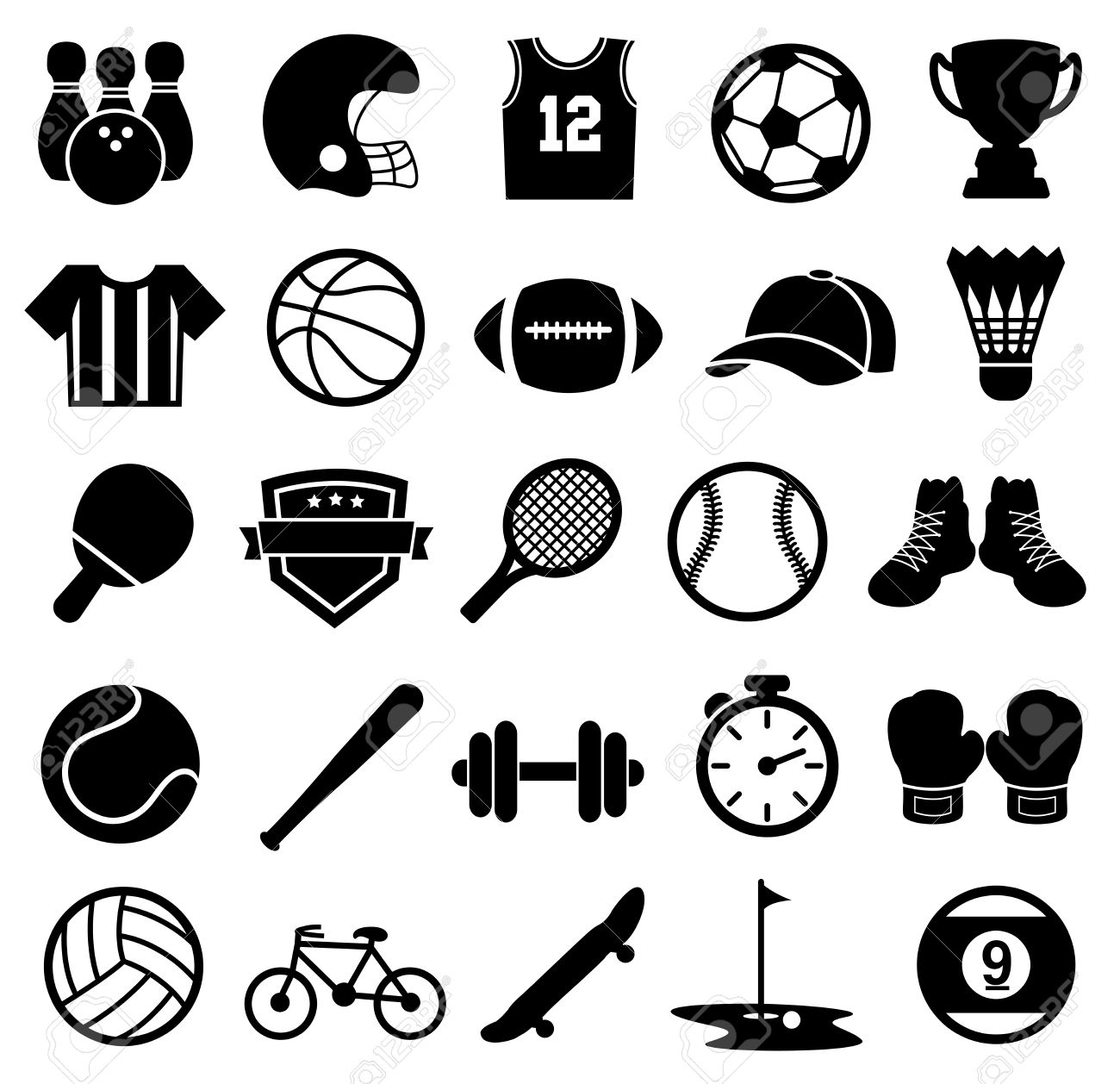 Sport Icons, Silhouette, Sport...