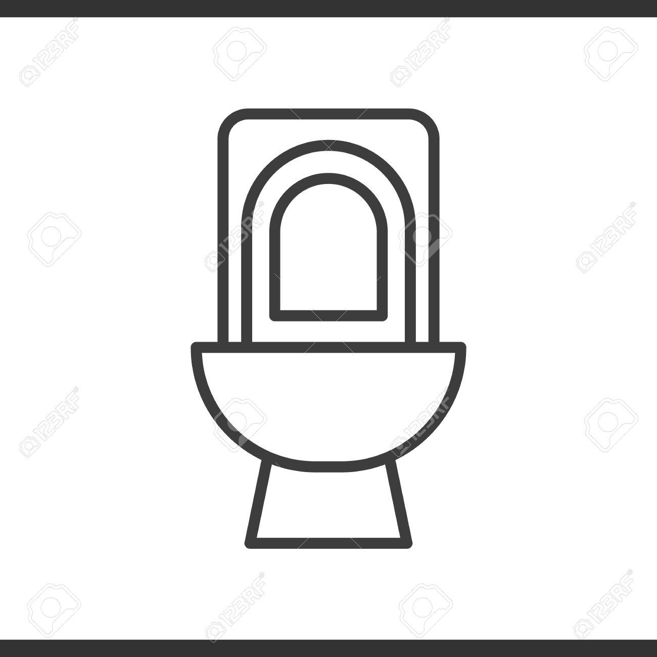Dessin Wc icône linéaire de toilette. illustration de la ligne mince wc