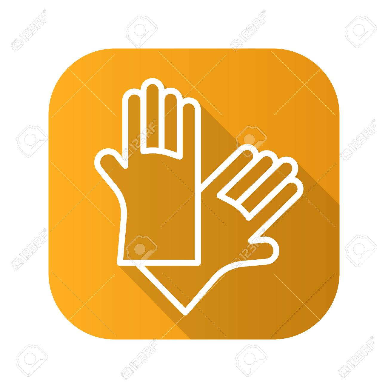 Latex Gloves Flat Linear Long Shadow Icon Vector Line Symbol