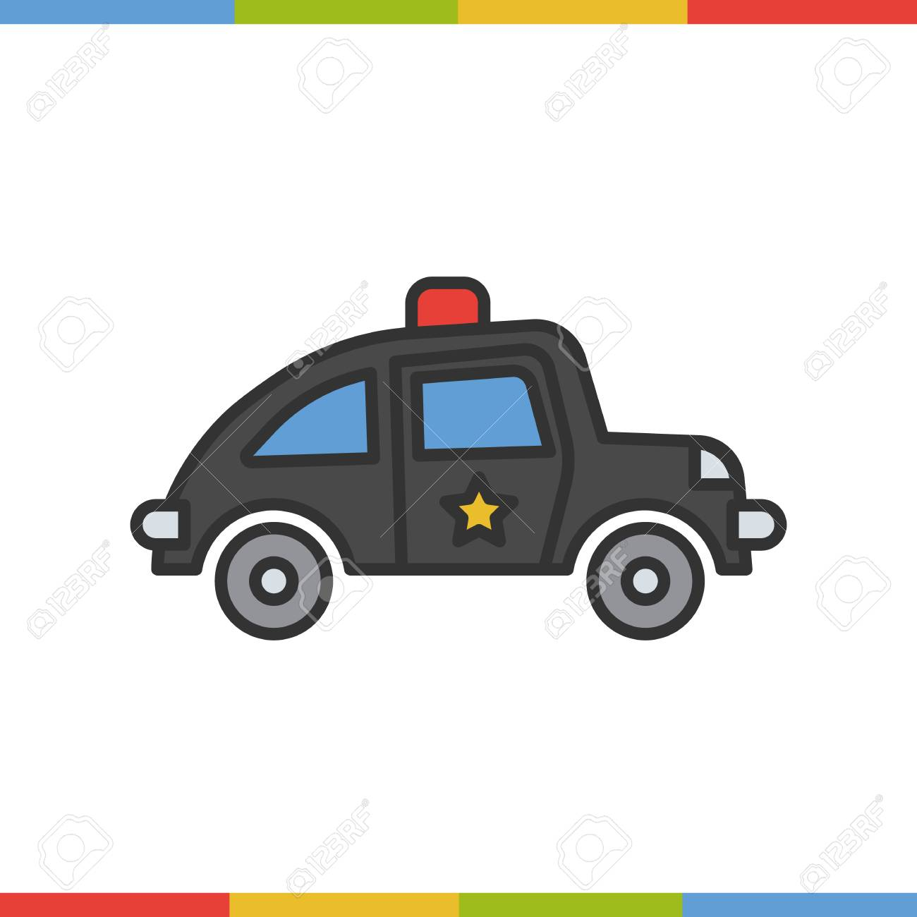 Police Car Color Icon Grey And Red Isolated Vector Illustration Stock