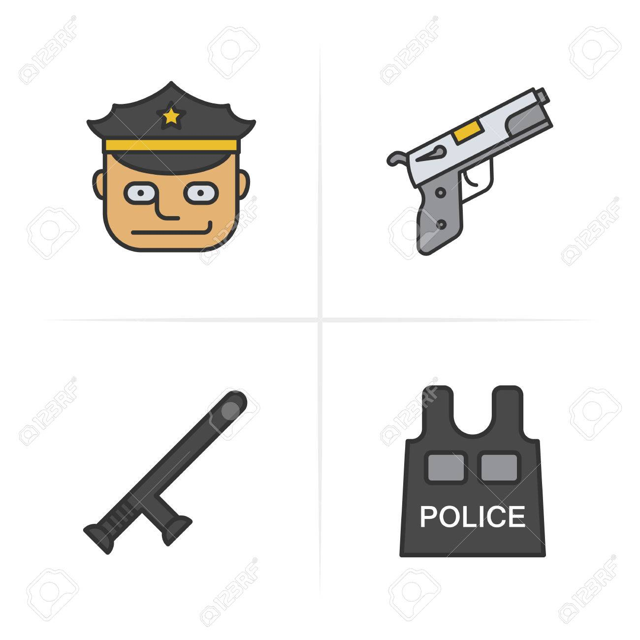 767f829810d Police Items And Tools Color Icons Set. Hat