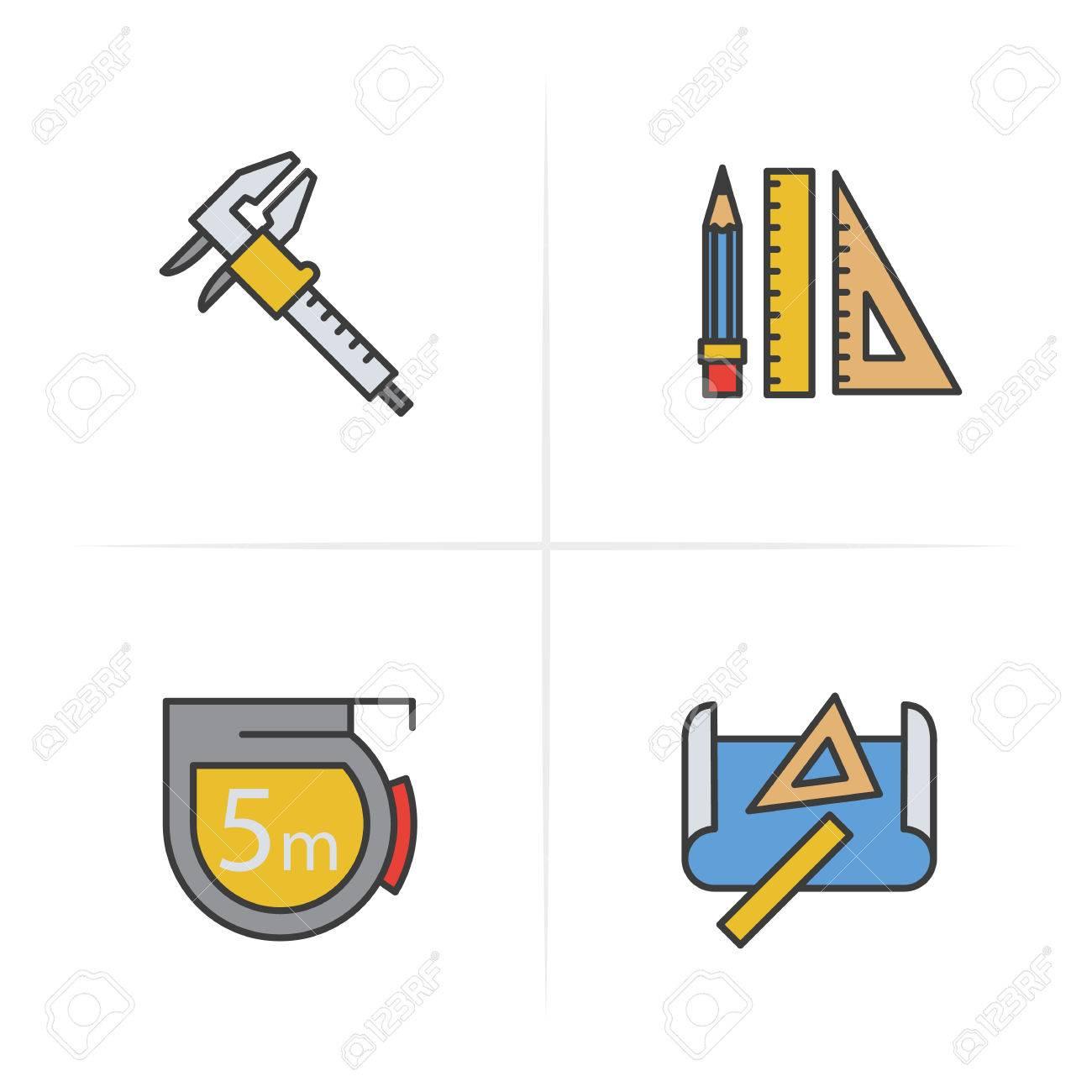 Engineers Measuring Tape Diagram Worksheet And Wiring Engineering Color Icons Set Caliper Pencil Ruler Rh 123rf Com Certificate