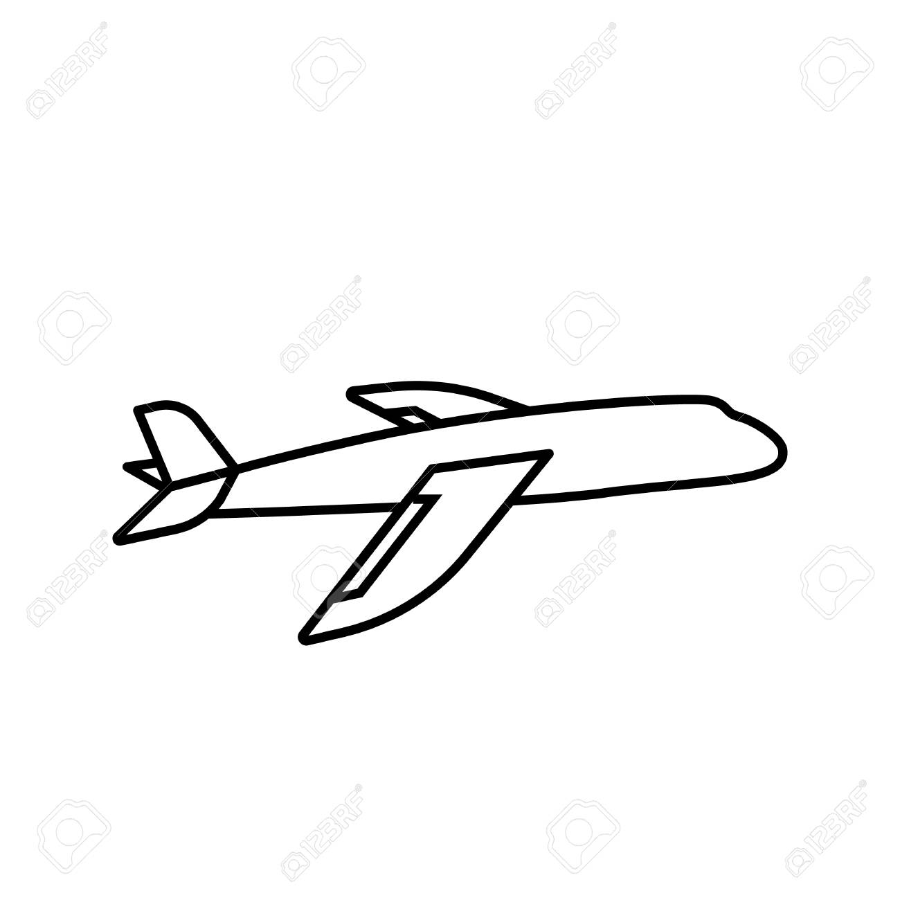 Plane Icon Simple Outline Plane Vector Icon On White Background