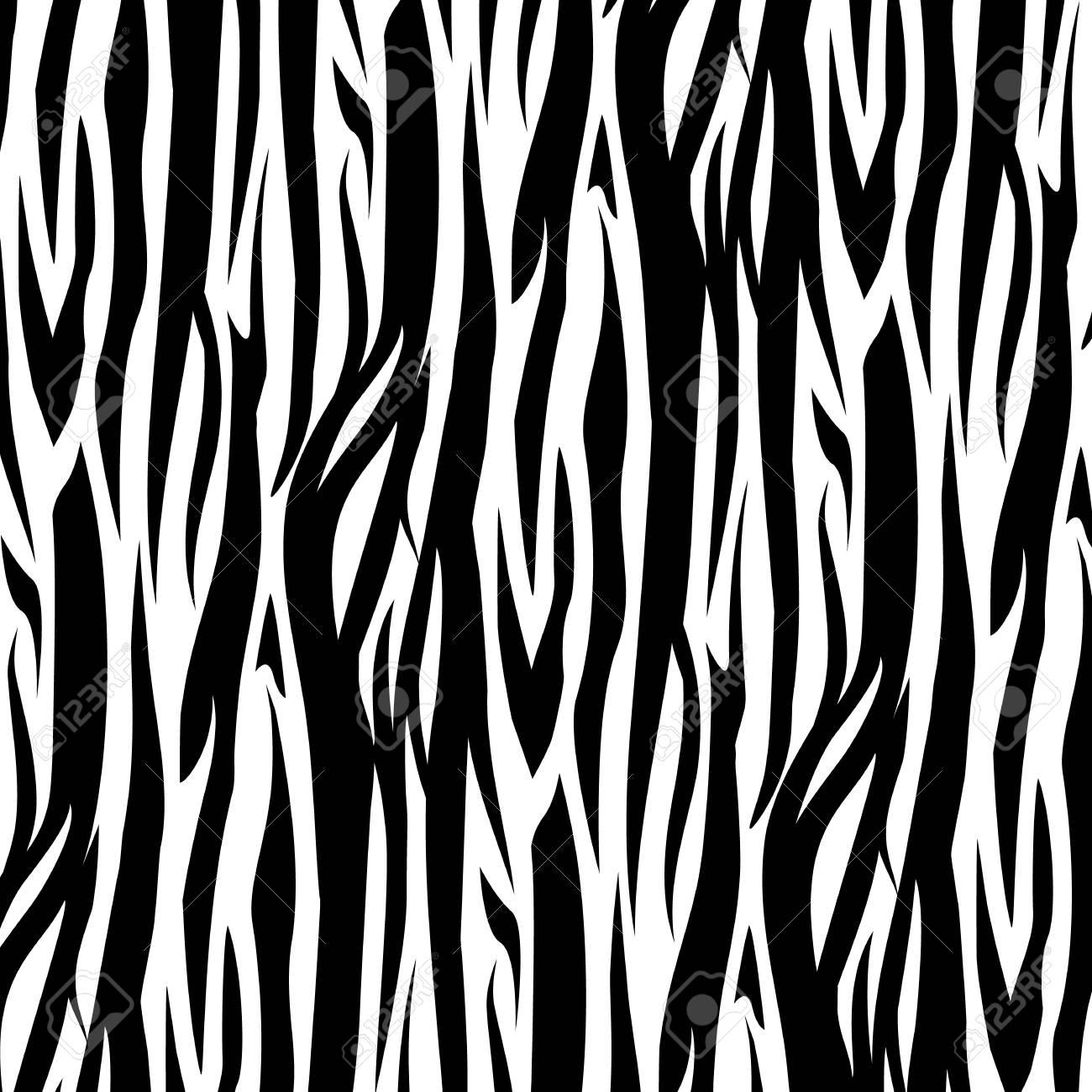 Zebra Stripes Seamless Pattern vector illustration. Black and white - 126941720