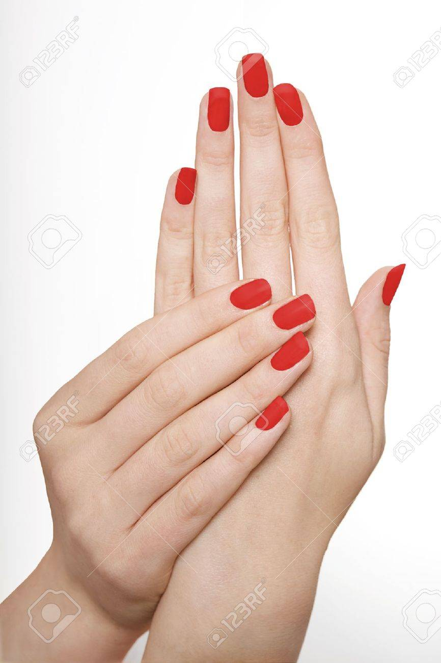 Red Manicured Nails Stock Photo, Picture And Royalty Free Image ...