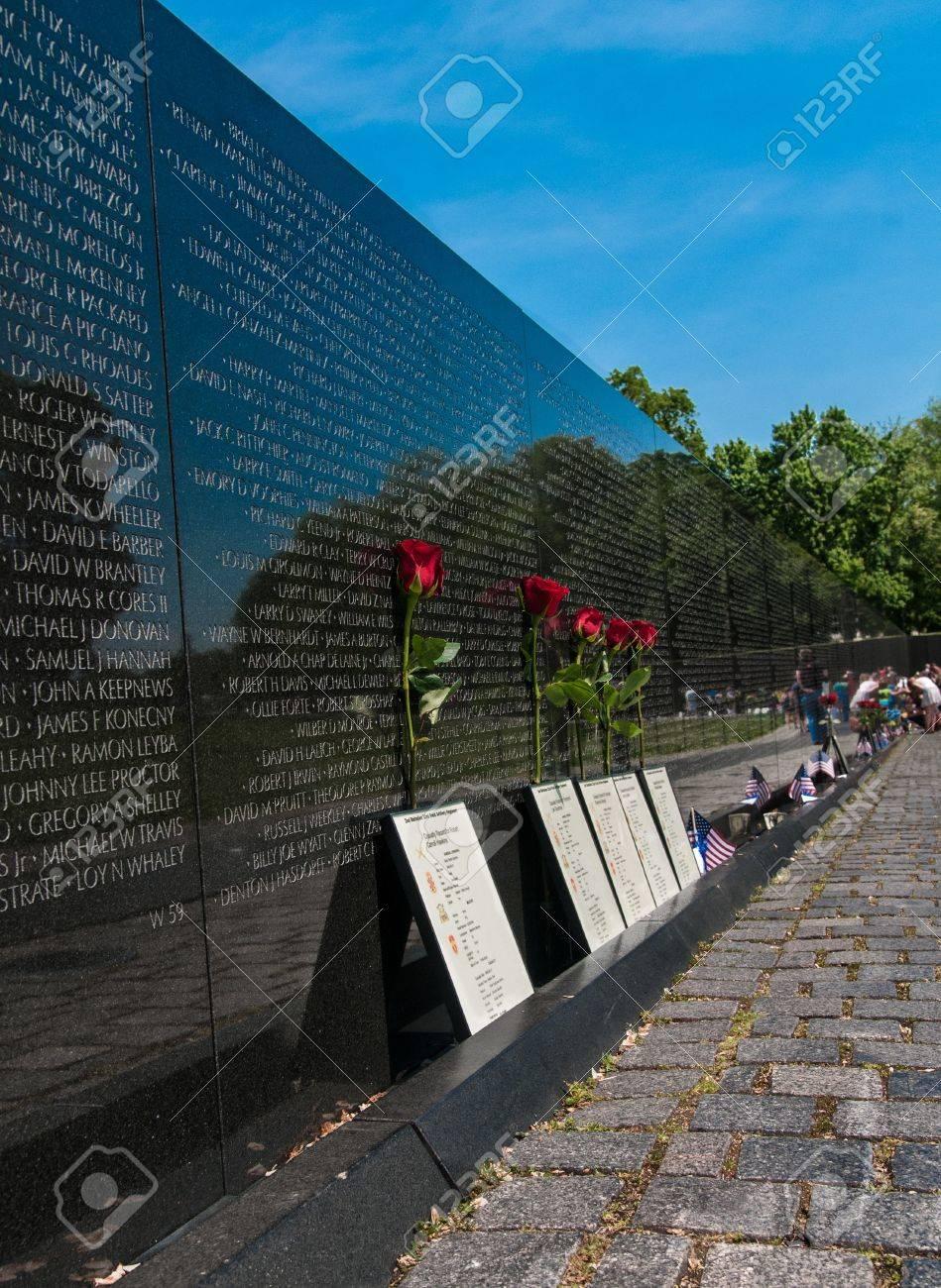 Roses honoring Vietnam War Casualties at the Vietnam War Memorial