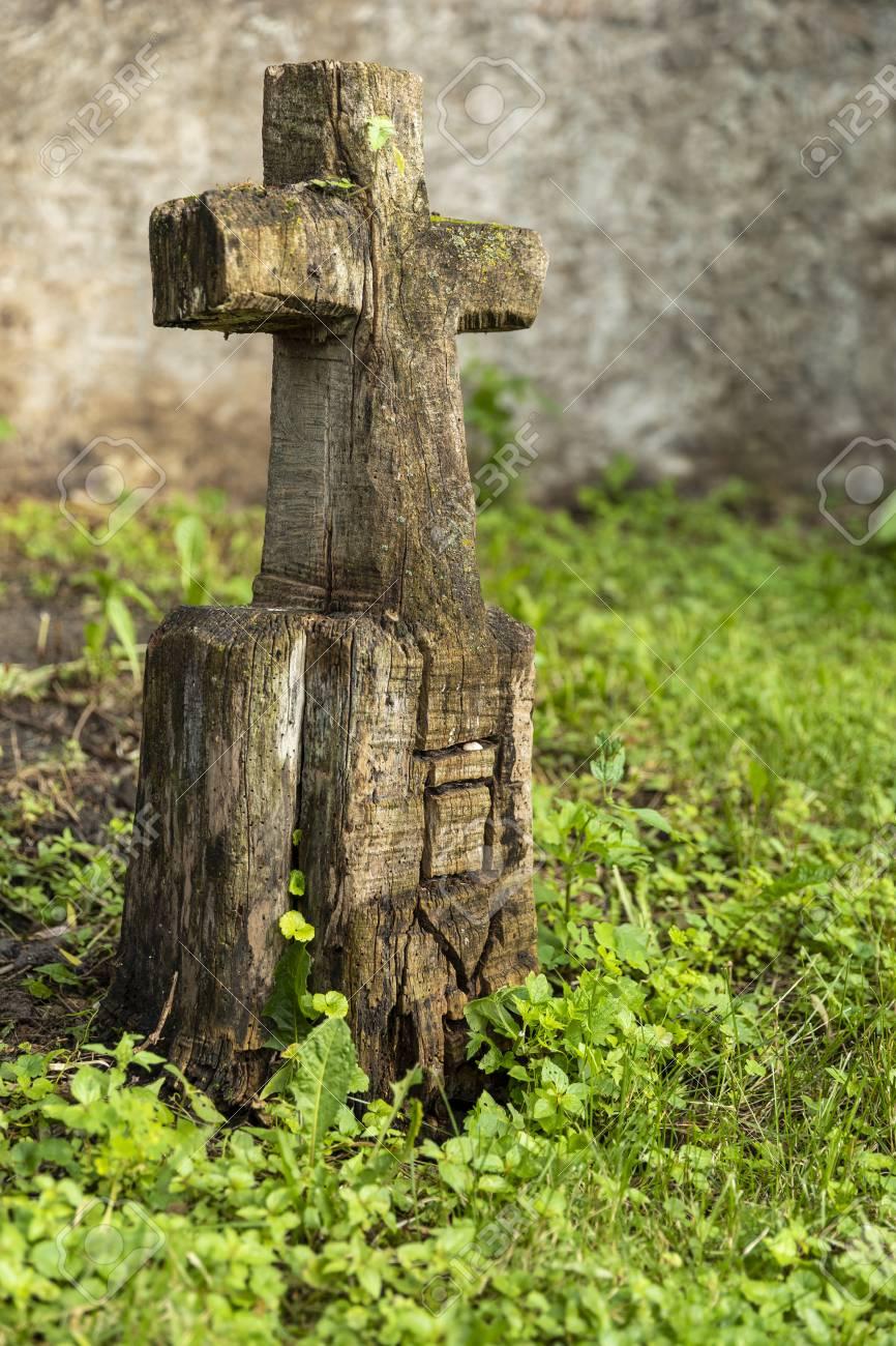 Carved Wooden Grave Marker