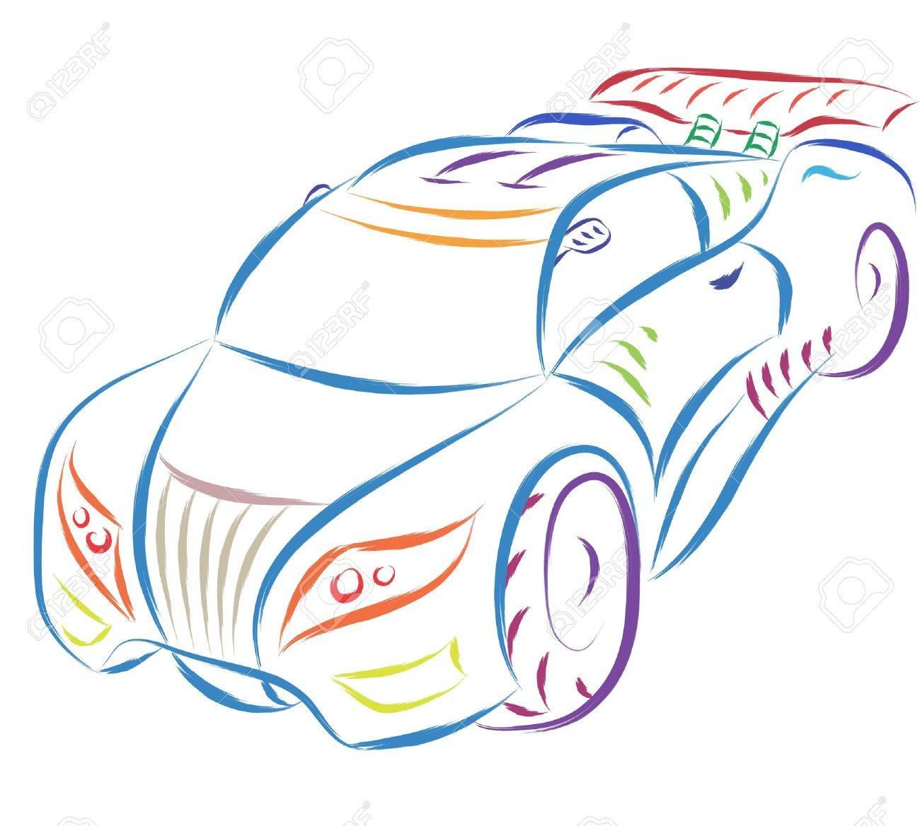 abstract sports car sketch royalty free cliparts vectors and
