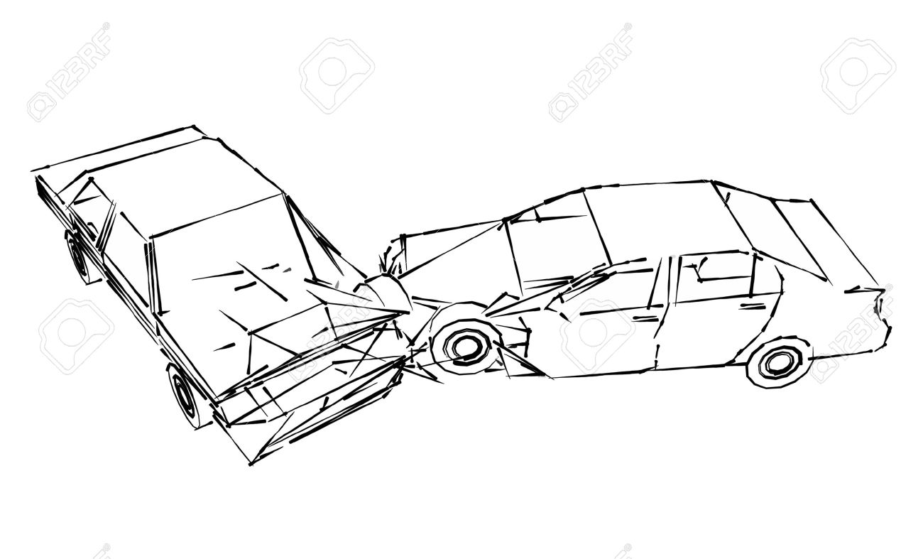 Car Crash Accident, Sketch Stock Photo, Picture And Royalty Free ...