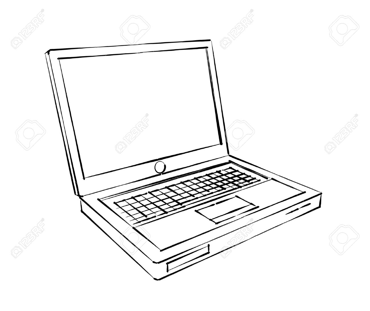Laptop Sketch Stock Photo, Picture And Royalty Free Image. Image ...