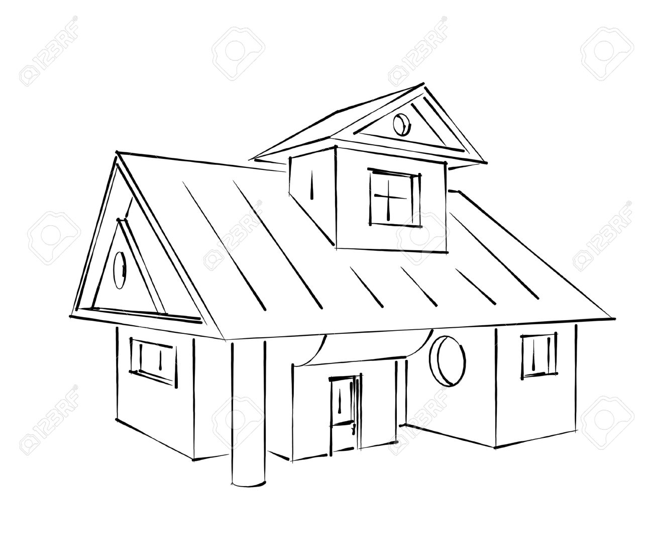 Classic House Sketch Stock Photo   13597607