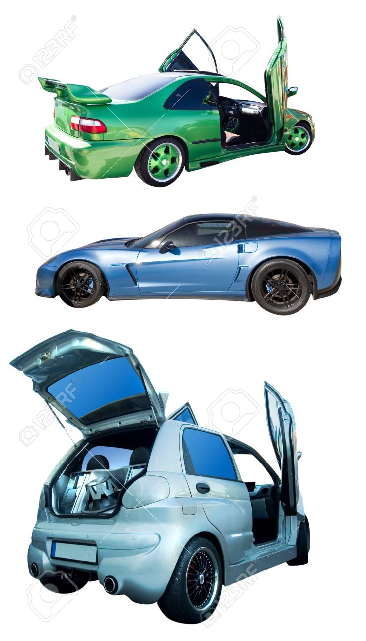 set of cars with tuning isolated on white Stock Photo - 14369367