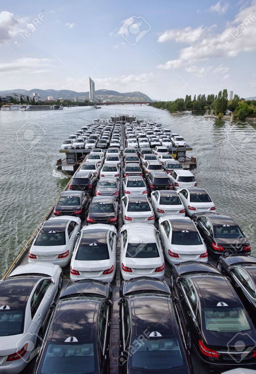 Big Lot Cars >> Big Boat Carying A Lot Of Cars On Danube River Vienna