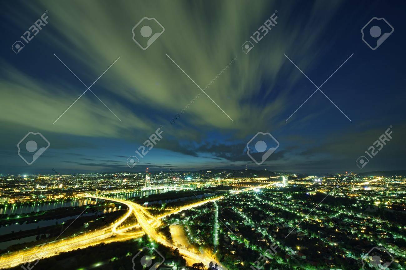 Vienna skyline at night, Austria Stock Photo - 15454492