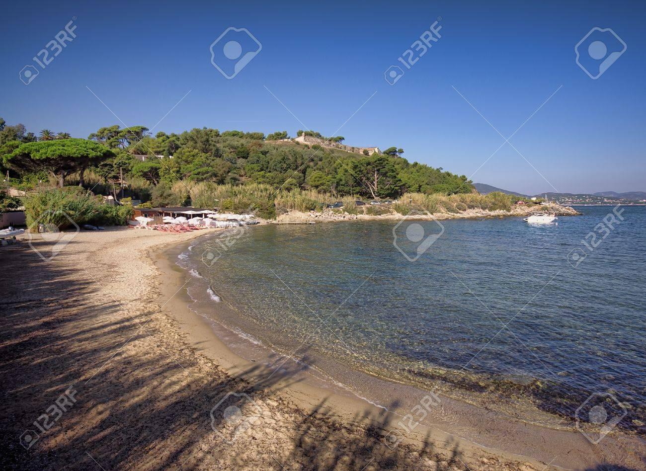 Saint Tropez Beach In Morning French Riviera Mediterranean Sea