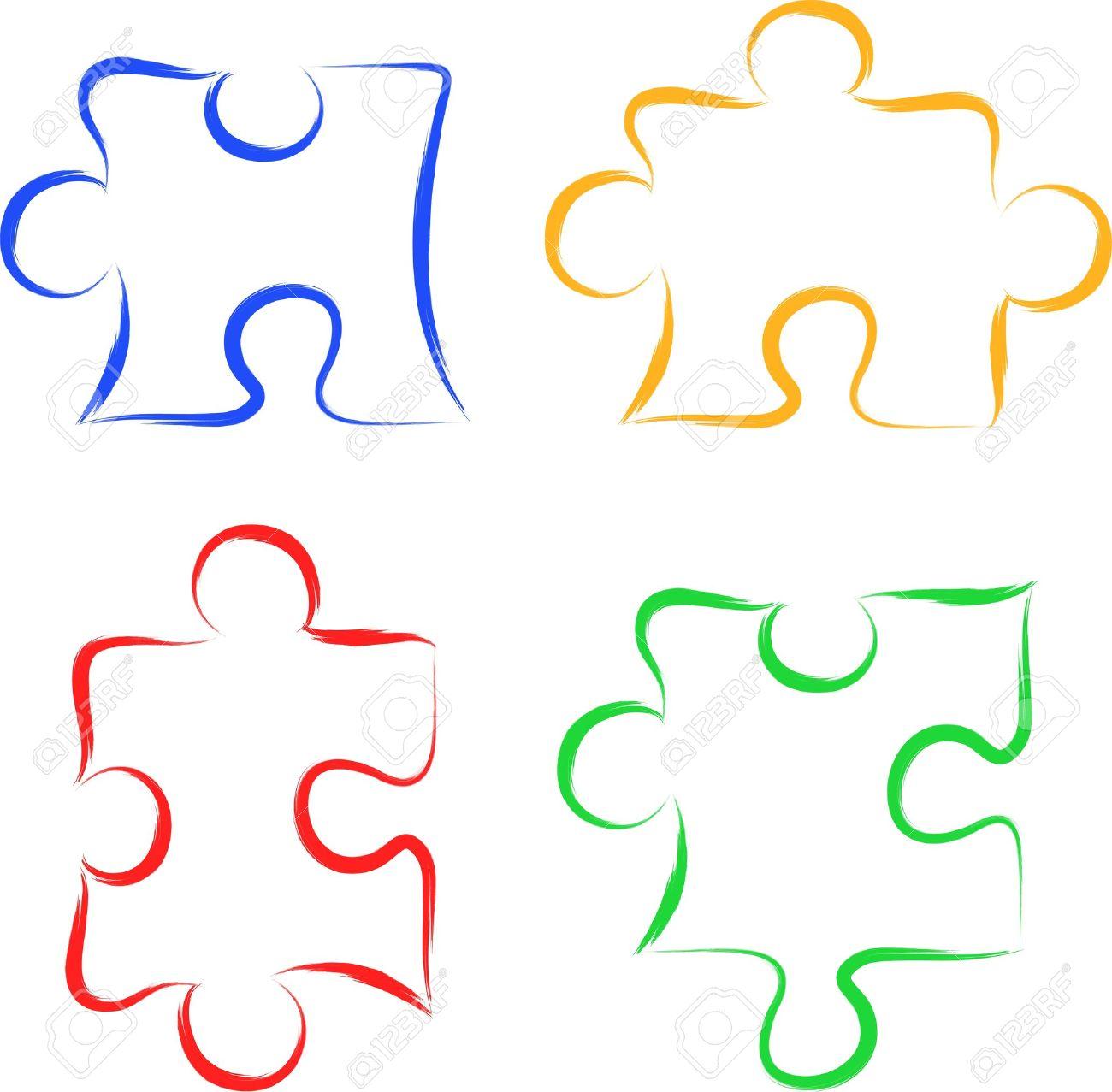 Scribble puzzle pieces - 16135901