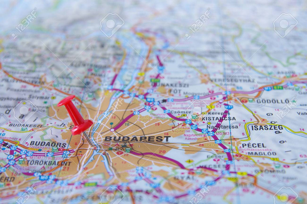 Push Pin Pointing In Budapest Hungary Map Stock Photo Picture And