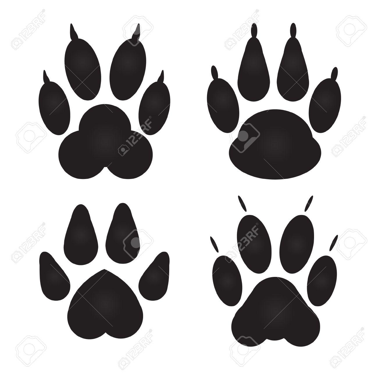 Empreinte Patte De Chien différent chat, empreintes de pattes de chien clip art libres de