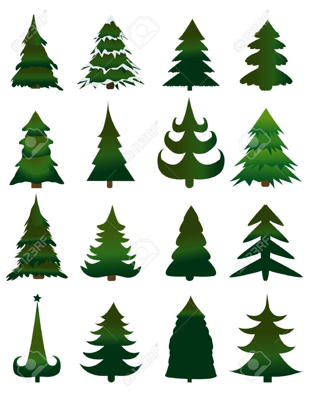 Set Of Christmas Trees Vector Royalty Free Cliparts Vectors And