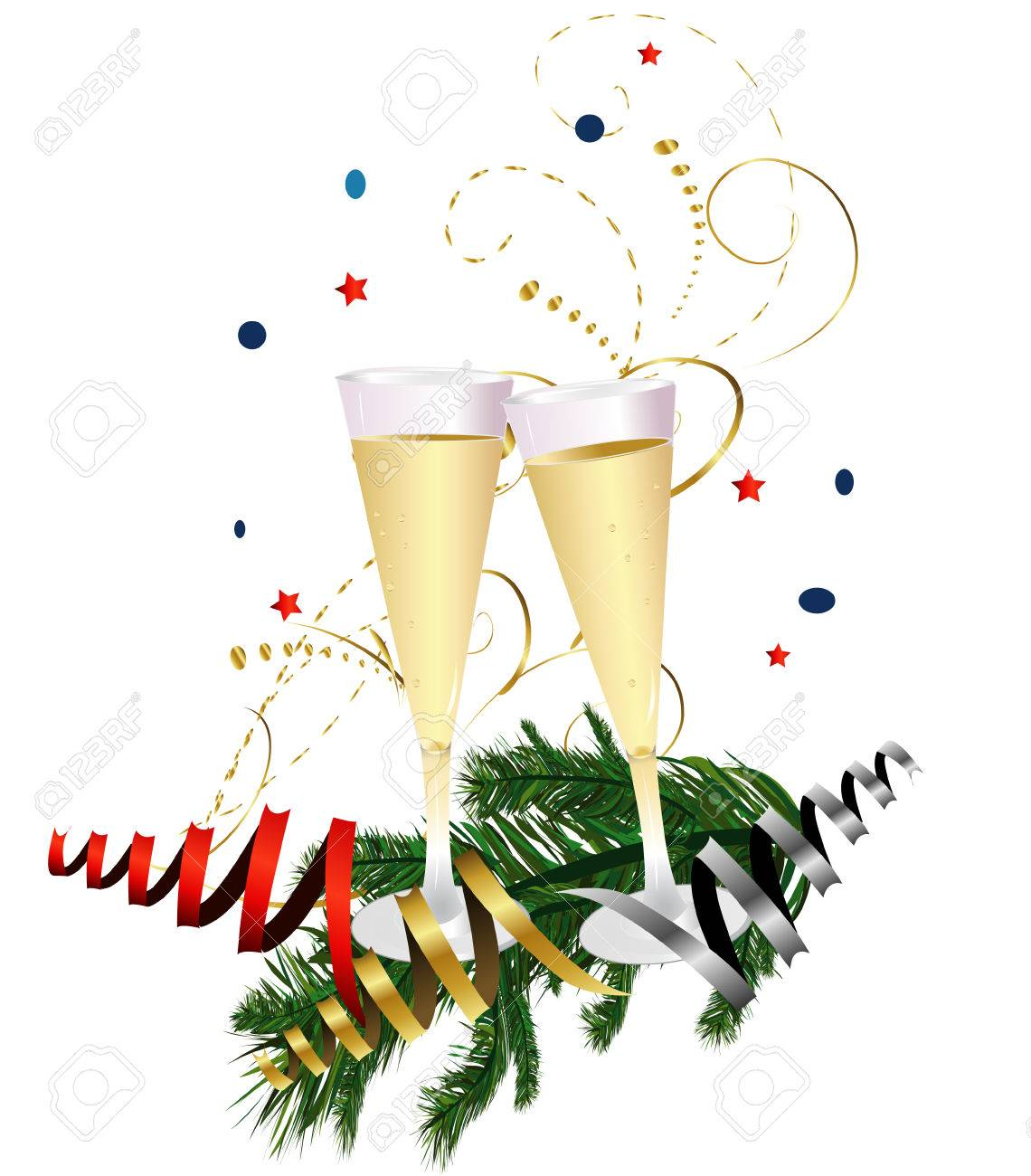 new years champagne toast stock vector 46194128