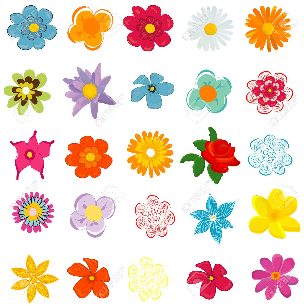 Colorful Spring Flowers Vector Illustration Royalty Free Cliparts Vectors And Stock Illustration Image 46269033