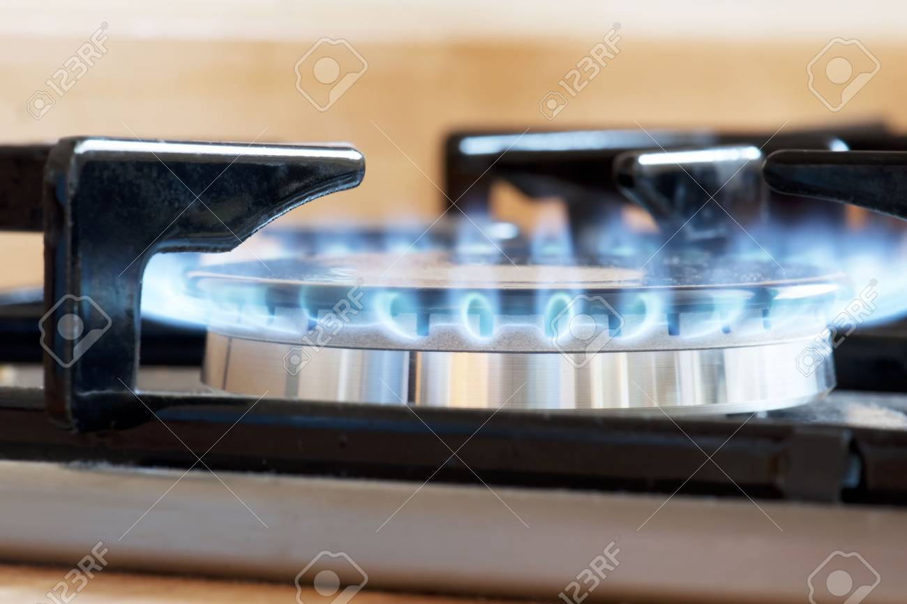 closeup of a cooker hob with the gas lit Stock Photo - 7909108
