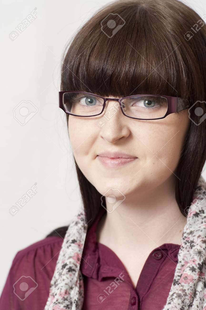 Young Brunette Girl with Long Hair and Glasses Stock Photo - 15167243