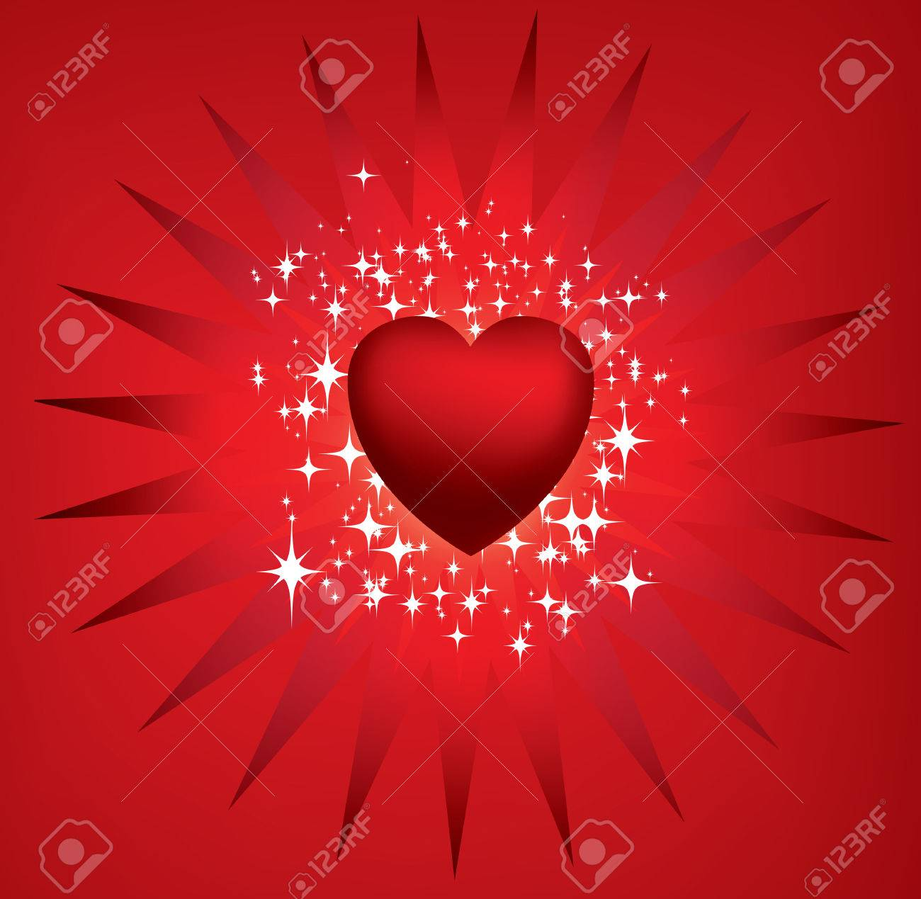 Exploding red heart and stars Stock Vector - 4312529