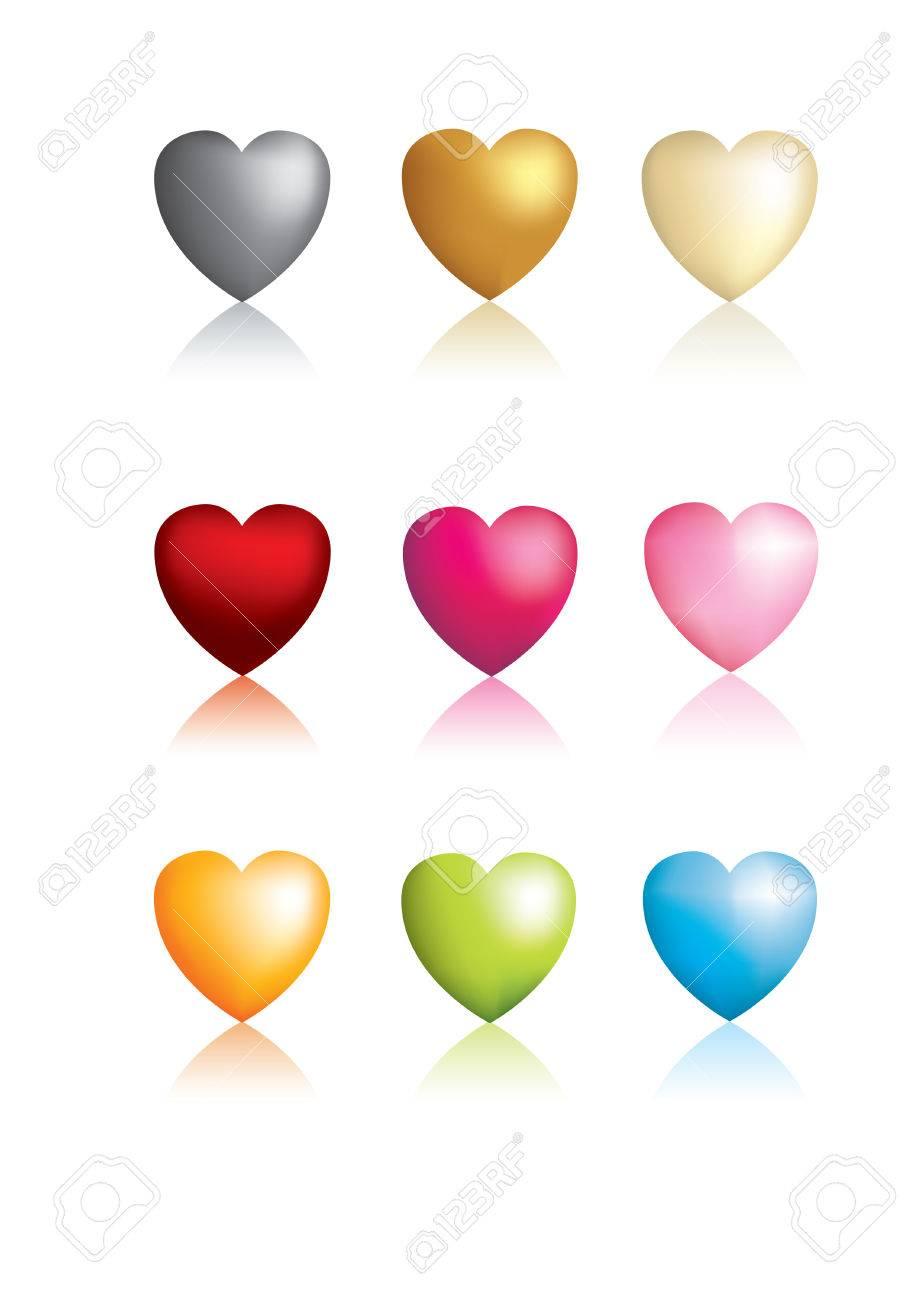 3D vector metallic heart icons glossy Stock Vector - 4312388