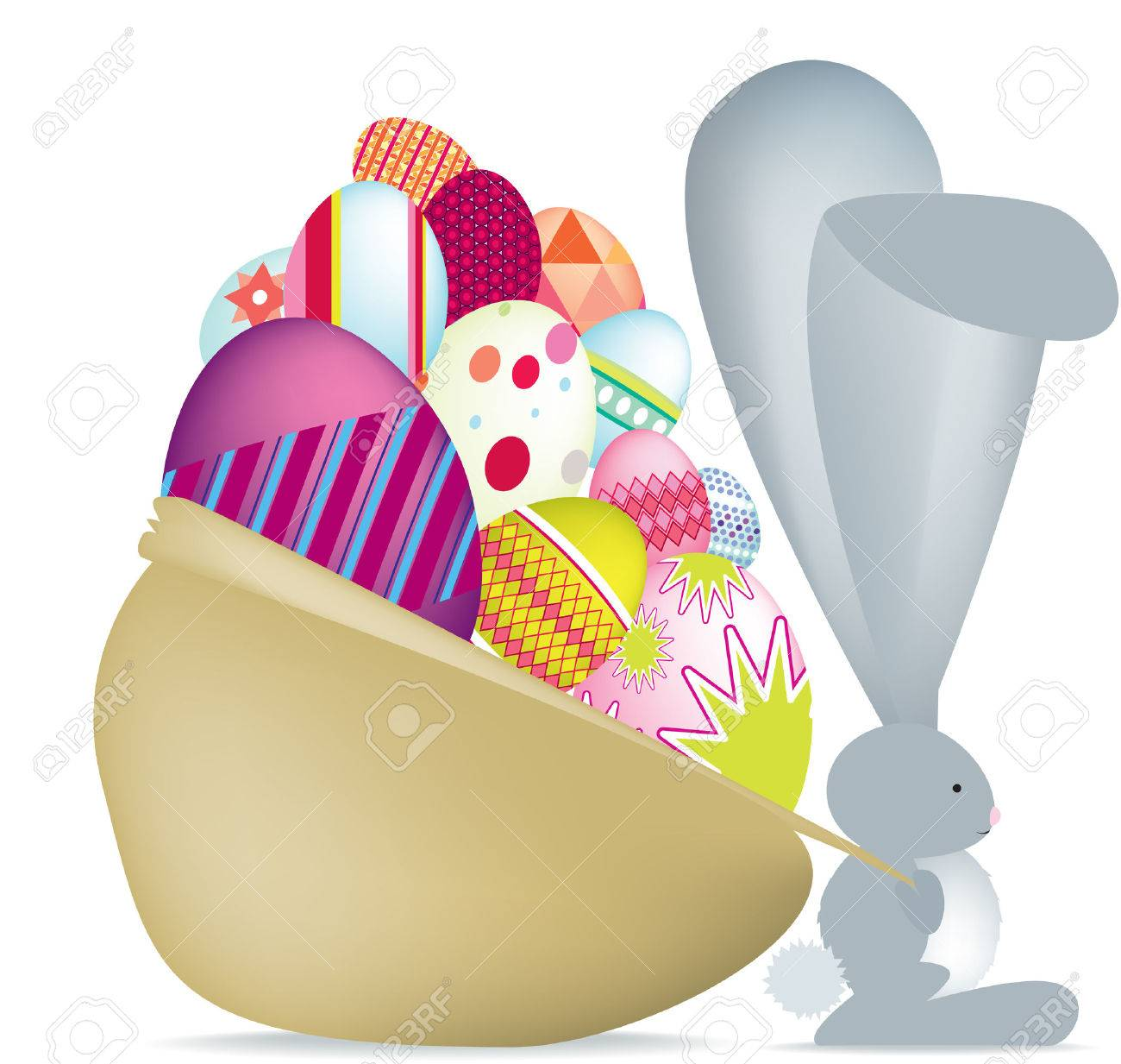 Easter bunny with eggs Detailed vector file, fully editable and scaleable to any size. Stock Vector - 4334232