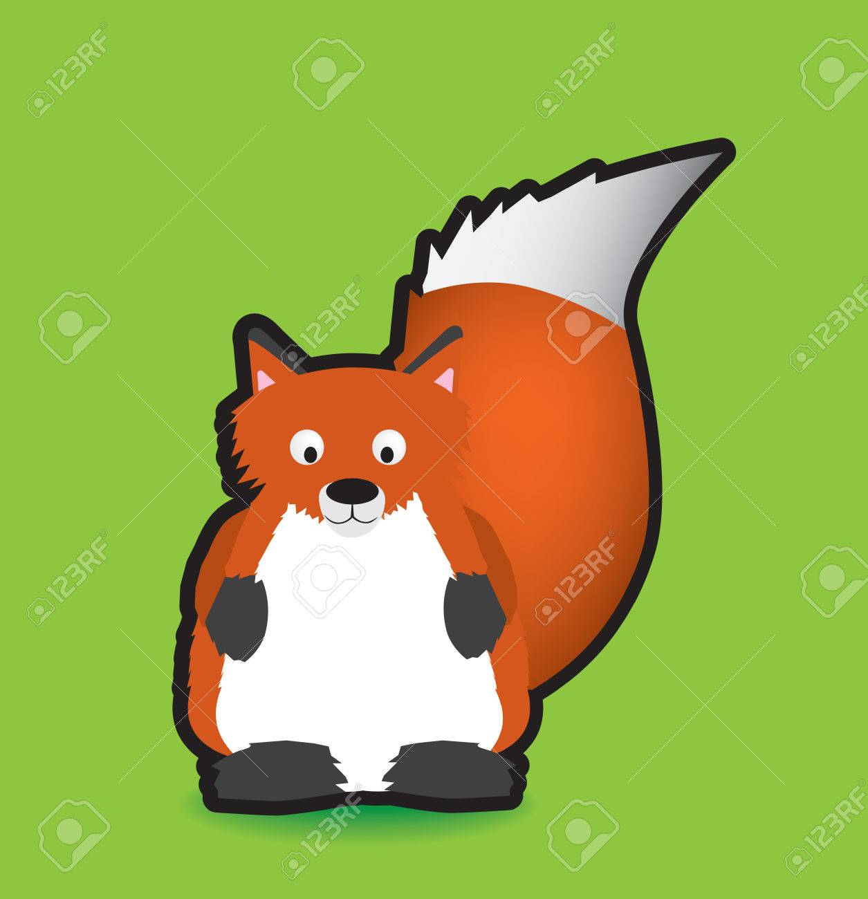 Funky vector illustration of a fox with a chunky black outline Stock Vector - 4553511