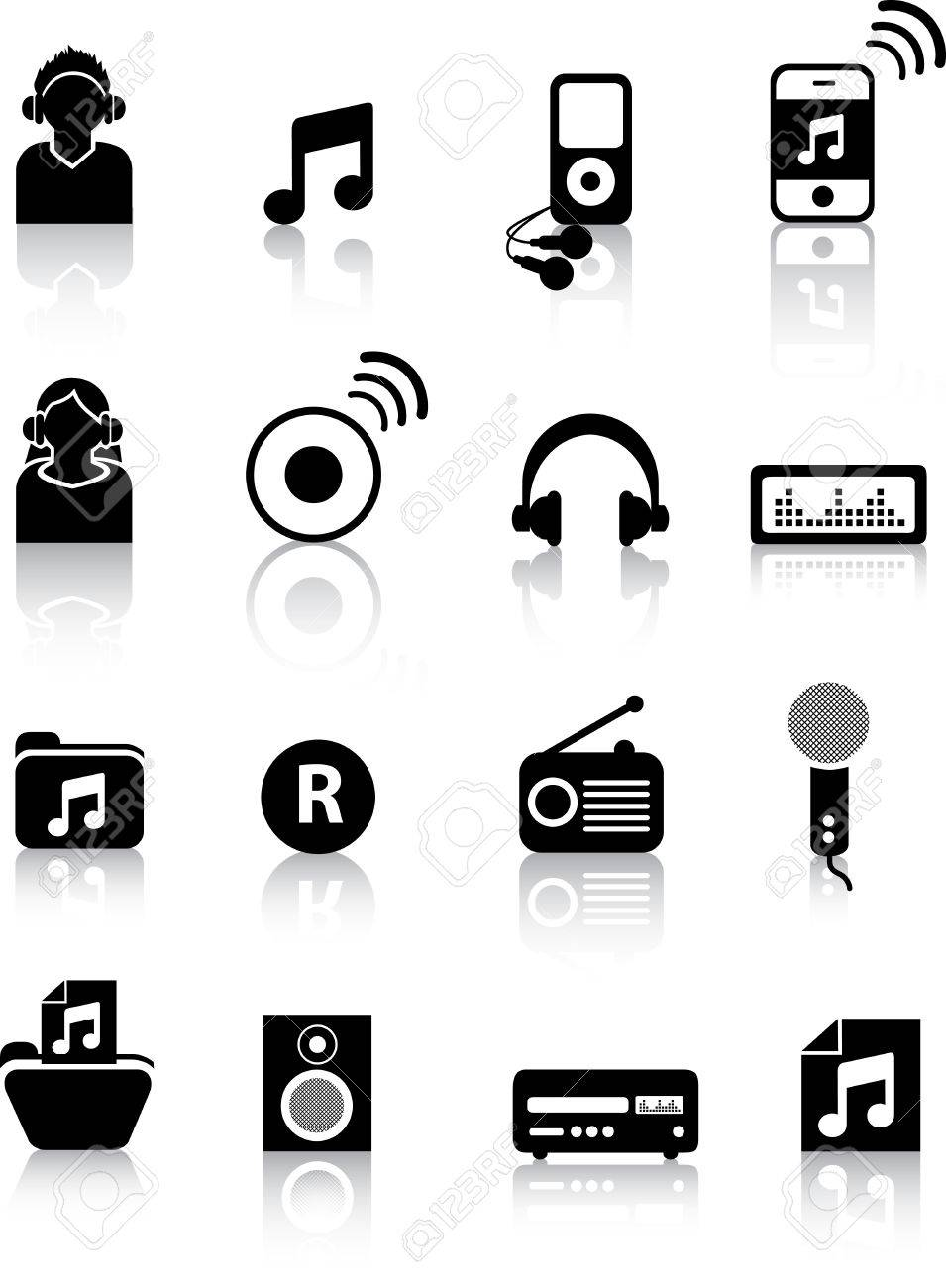 A set of modern icon illustrations for the music and entertainment industry Stock Vector - 4594845
