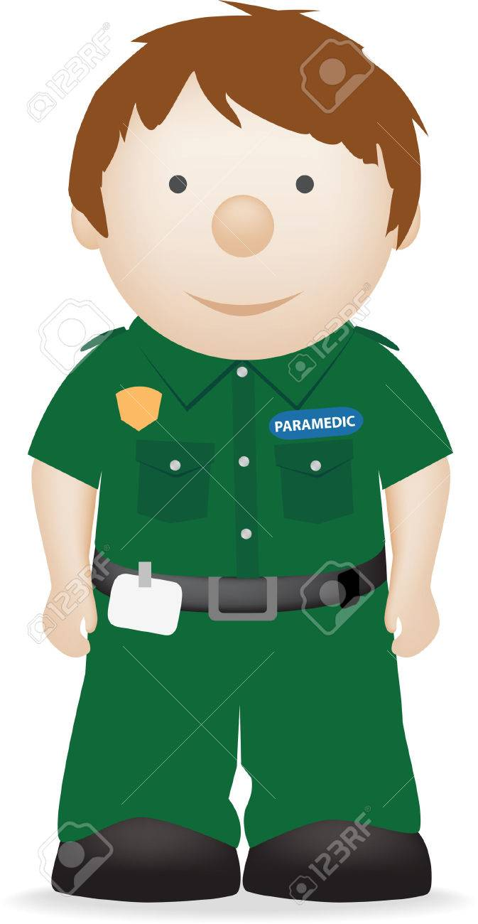 vector character illustration of a smiling paramedic - 4651596