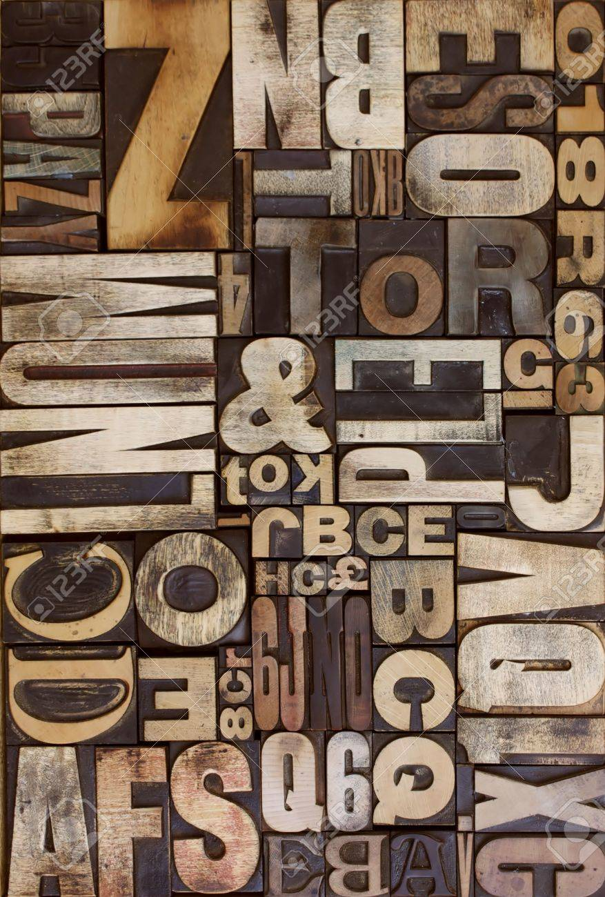 letterpress wooden blocks viewed from above flat on Stock Photo - 4713489
