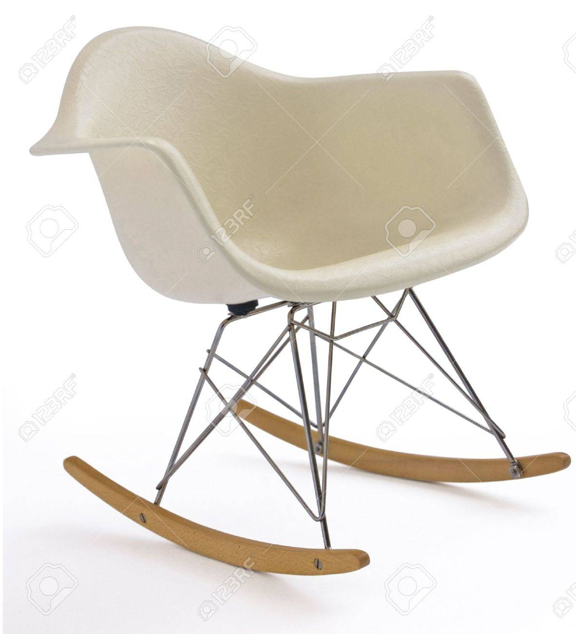 Terrific Isolated White Modern Eames Rocking Chair With Steel Legs Bralicious Painted Fabric Chair Ideas Braliciousco