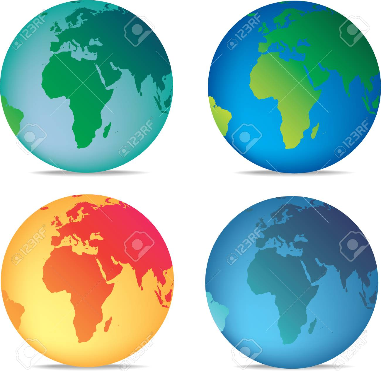 illustration of a set of 4 coloured globes Stock Vector - 4759014