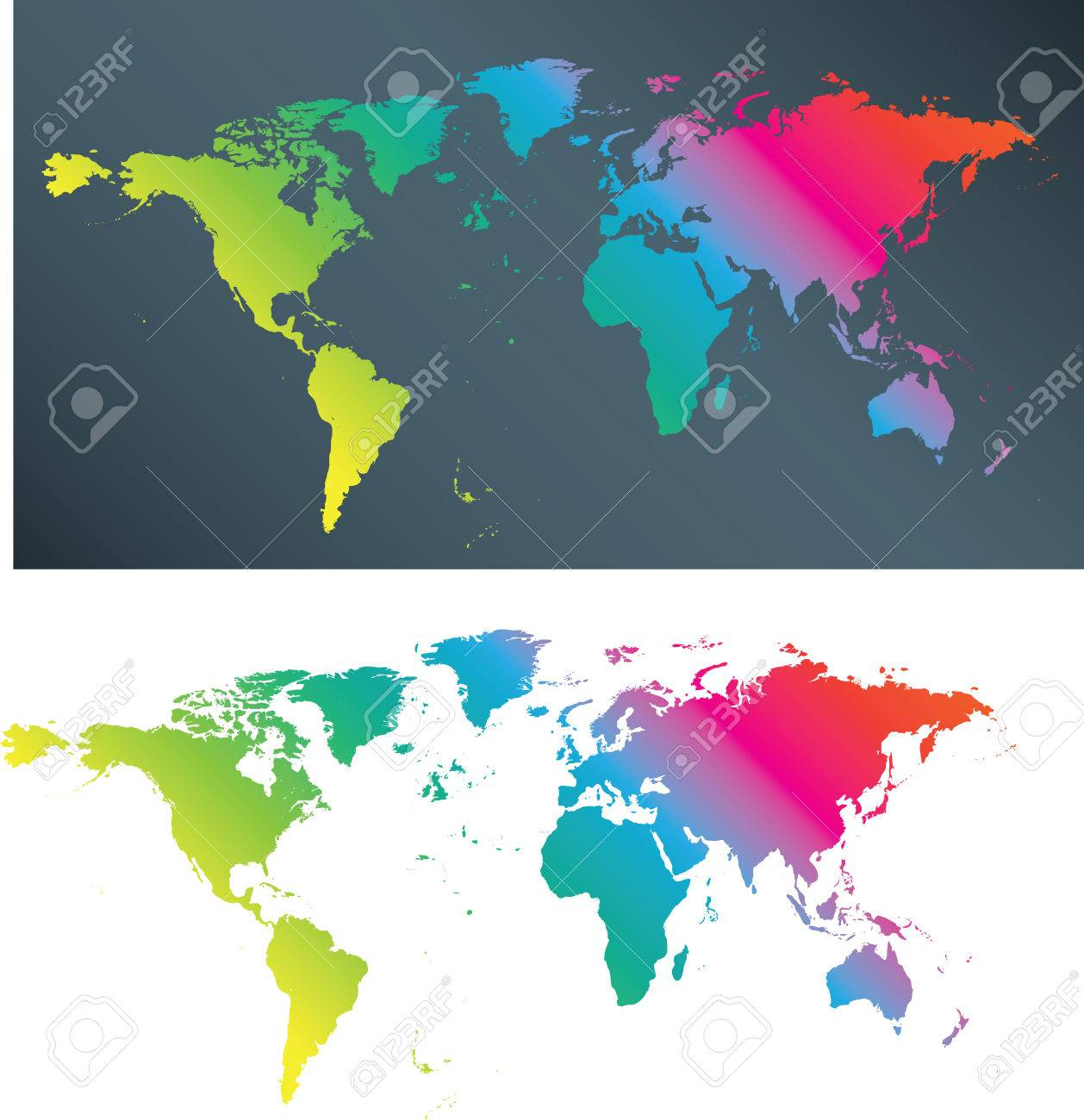 Illustration Of A Flat Multi Coloured World Map Royalty Free - Flat globe map