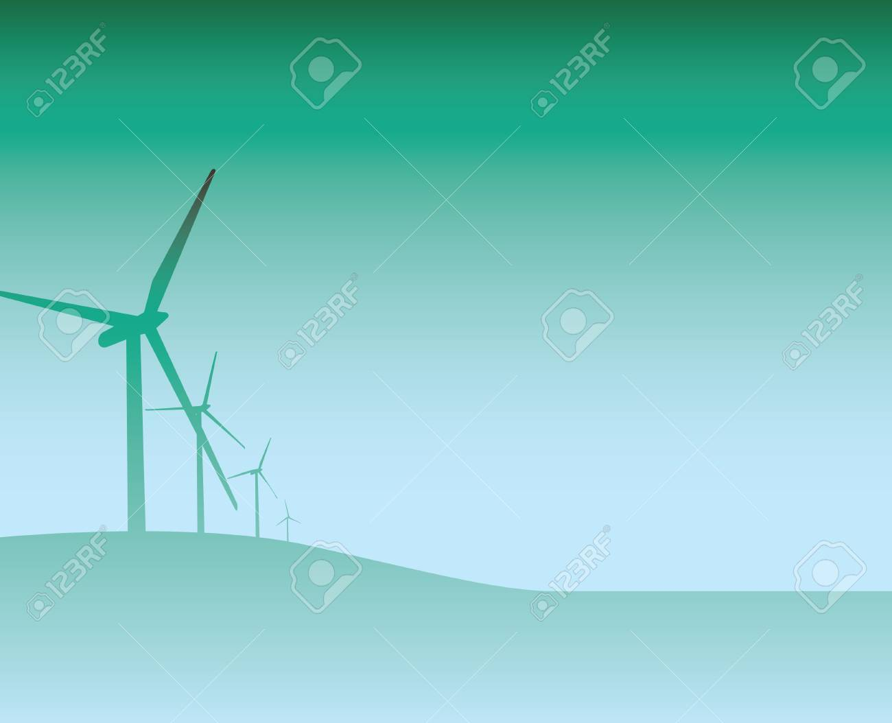 Illustration of  a blue and green wind turbine backdrop Stock Vector - 4773584