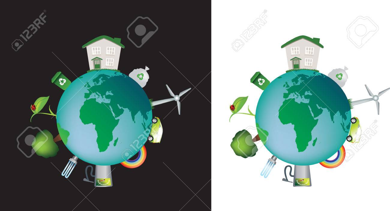 detailed illustration of the world and the concept of eco and caring Stock Vector - 4773616