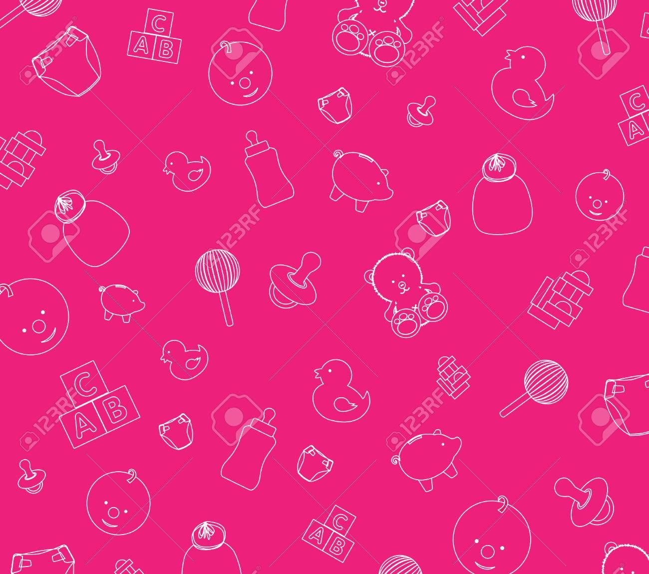ピンクの赤ちゃん壁紙の背景のイラストのイラスト素材 ベクタ Image