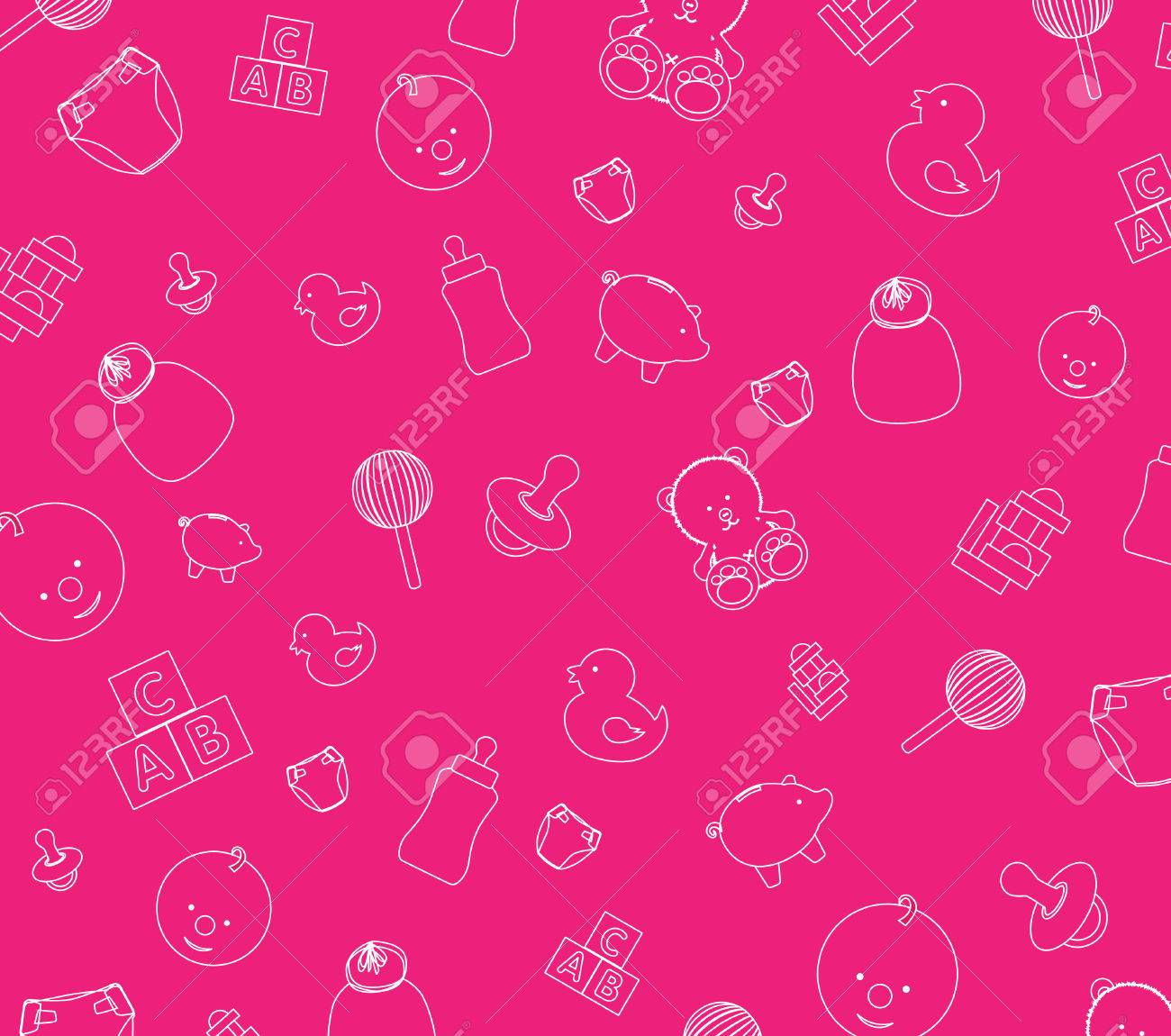 Illustration of pink baby wallpaper background Stock Vector - 4830745